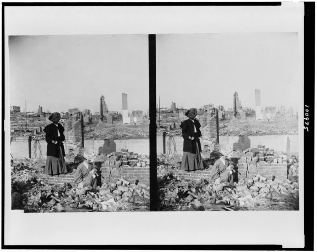 [Two women amidst bricks and rubble after San Francisco earthquake and fire, 1906]