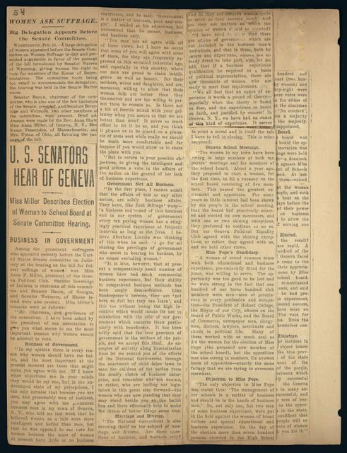 U. S. Senate Suffrage Committee Hearing