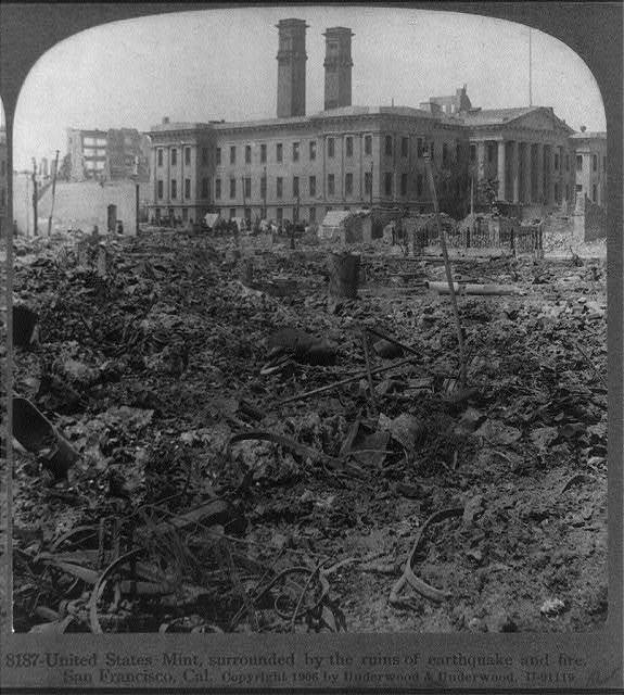 United States Mint, surrounded by the ruins of earthquake and fire, San Francisco, Calif.