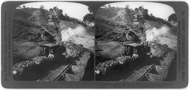 A loaded coal train and the gravity incline at a coal mine, Pittsburg, Pa., U.S.A.