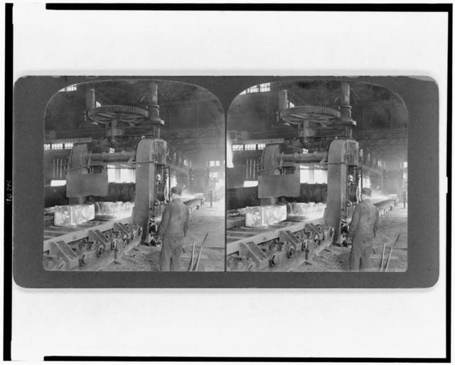 [A white-hot three-ton ingot of steel in mill, to be rolled out seventy five feet long, Homestead, Pennsylvania]
