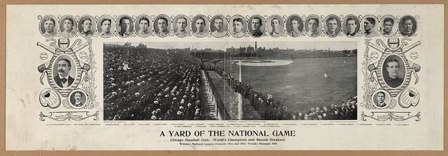 A yard of the national game, Chicago baseball club, World's Champions and record breakers, winners National League pennant 1906 and 1907, World's pennant 1907