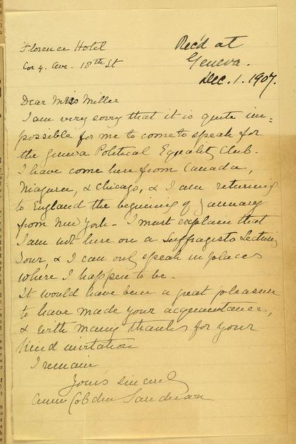 Anne Cobden Sanderson, English suffragette, to Anne Fitzhugh Miller declining invitation to speak at Geneva Political Equality Club
