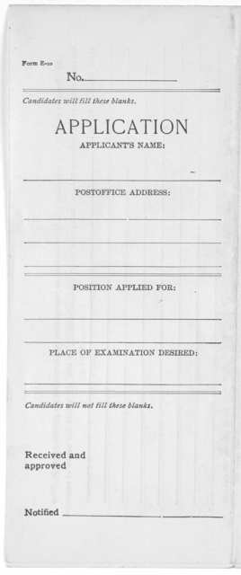 Application and experience statement for state and county service [Albany, 1907?].