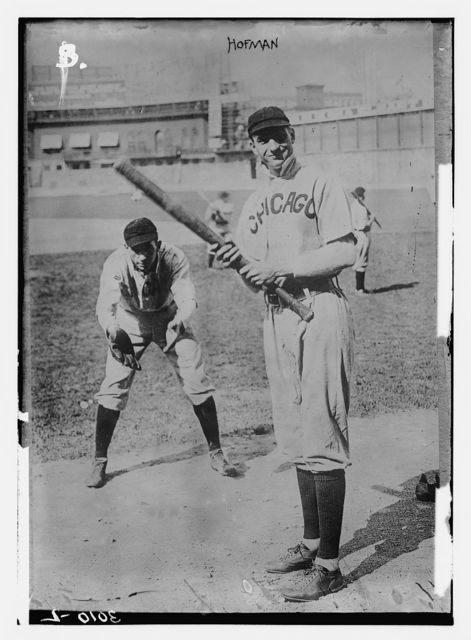 """[Arther """"Solly"""" Hofman batting, and Jack Pfiester, a pitcher playing catcher, Chicago NL (baseball)]"""