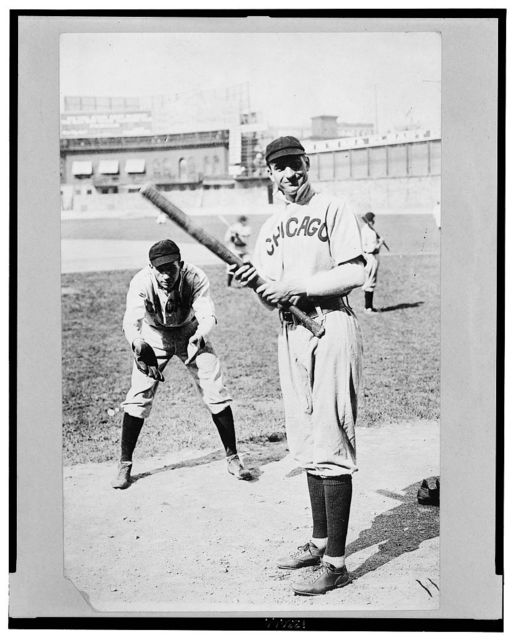 """[Arthur """"Solly"""" Hofman batting and Jack Pfiester, a pitcher playing catcher, Chicago NL, (baseball)]"""