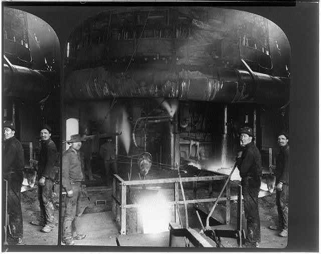 At the lower level of the blast furnace. Drawing of the slag, steelworks, Homestead, Pa.