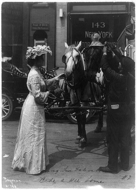 [Bide-A-Wee Home for Animals, New York, N.Y.: man putting sun hat on horse and woman holding another hat and reins of another horse]