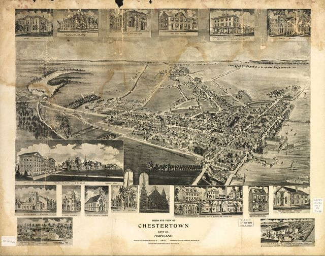 Birds eye view of Chestertown, Kent Co., Maryland 1907.