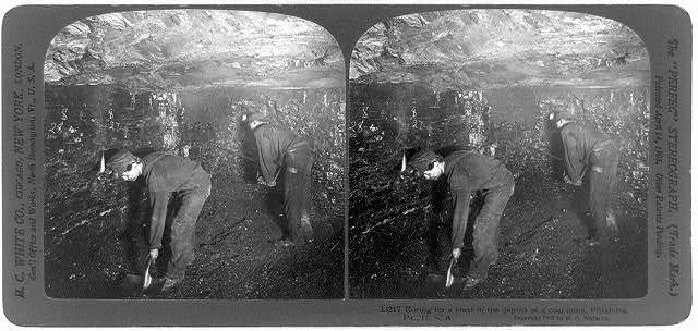 Boring for a blast in the depths of a coal mine, Pittsburg, Pa., U.S.A.