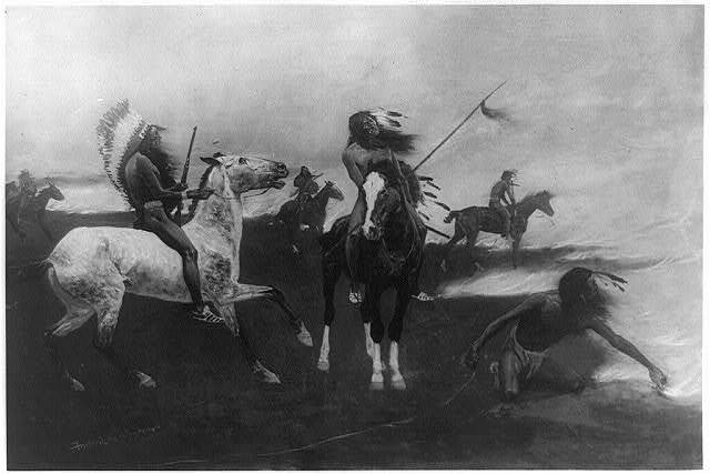 [Burning a refuge to escape from the oncoming prairie fire] / Frederic Remington.