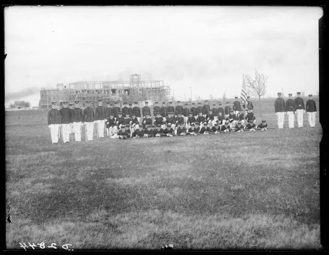 Cadets on the grounds of the Kearney Military Academy, Kearney, Nebraska.
