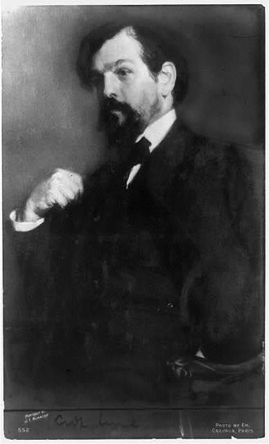 [Claude Debussy, half-length portrait, seated, facing left] / portrait by J.E. Blanche ; photo by Em. Crevaux, Paris.