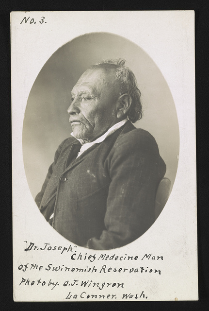 Dr. Joseph, chief medecine [i.e. medicine] man of the Swinomish Reservation / Photo by O.J. Wingren., La Conner, Wash.