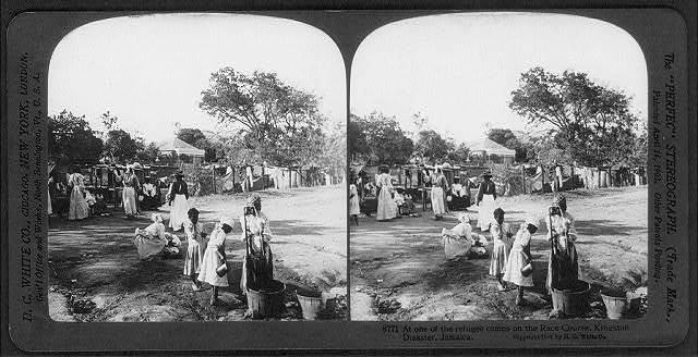 [Earthquake, Kingston, Jamaica, 1907]: At one of the refugee camps on the race course