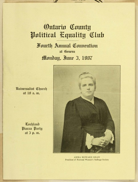 Enclosure: Ontario County Political Equality Club Convention, June 3, 1907