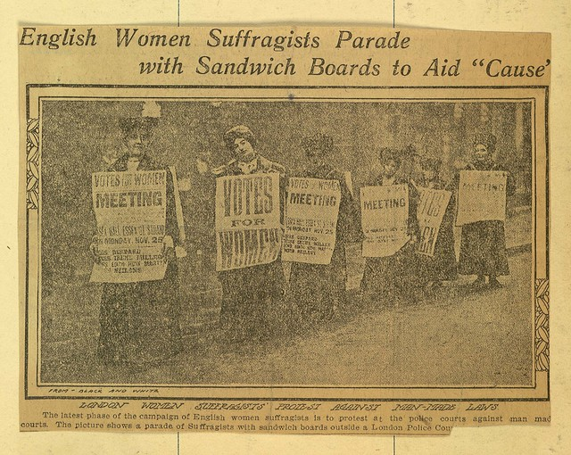 "English Women Suffragists Parade with Sandwich Boards to Aid ""Cause"""