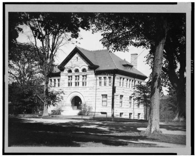 [Exterior of Dickinson Memorial Library, Northfield, Massachusetts]