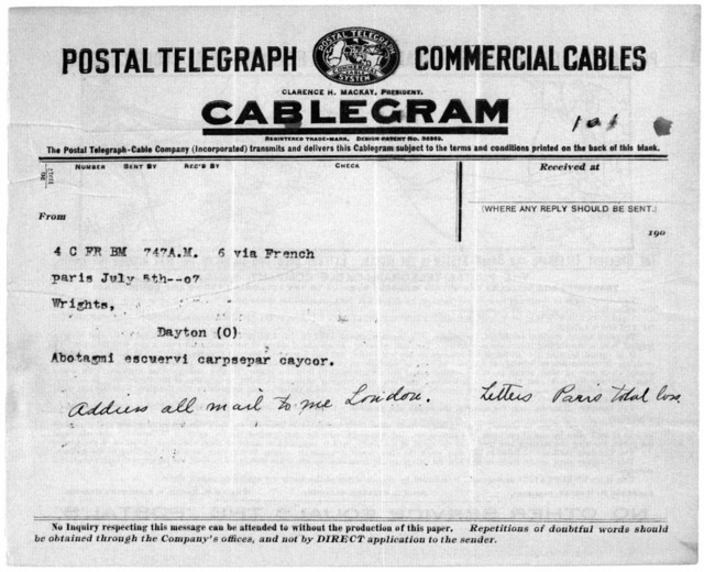 Family Papers:  Exchange of Coded Cables between Wilbur and Orville Wright, 1907
