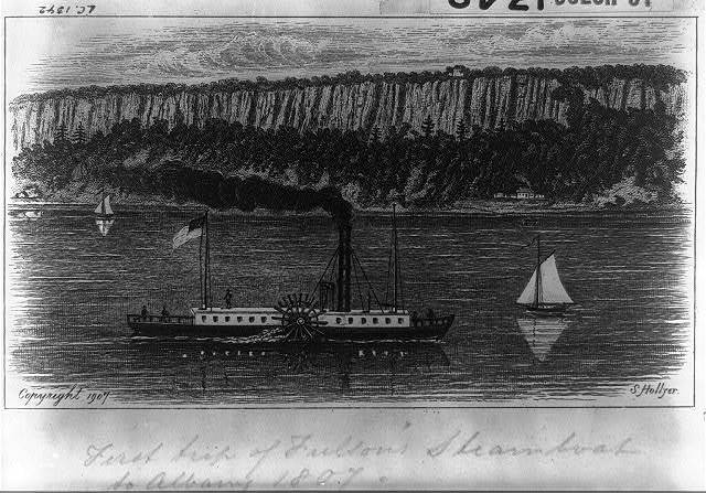 First trip of Fulton's steamboat to Albany, 1807 / S. Hollyer.