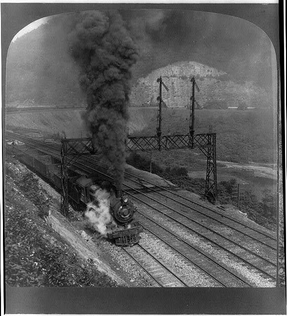 """""""Freight train of 60 cars on the celebrated horseshoe curve of the Penn. R'y, Pa."""""""