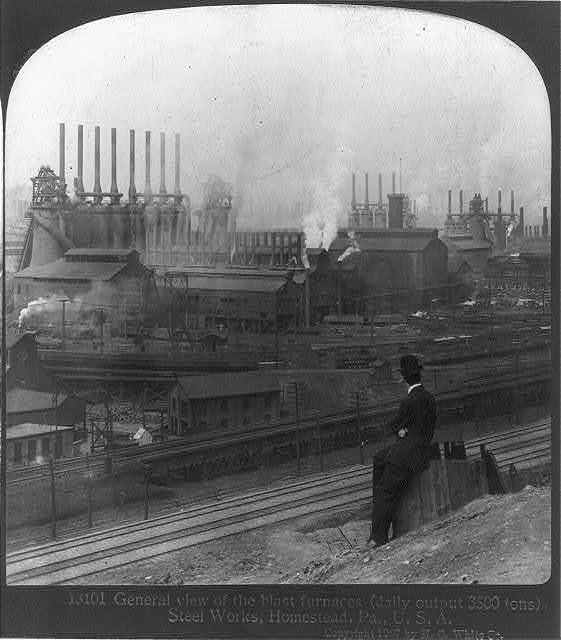 General view of the blast furnaces (daily output 3500 tons), Steel Works, Homestead, Pa.