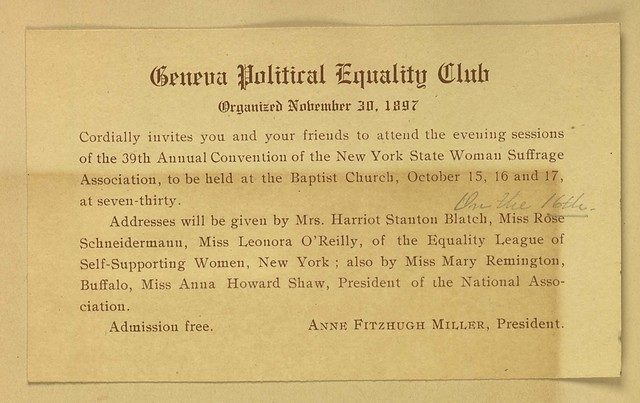 Geneva Political Equality Club meeting invitation to evening sessions of 39th annual New York State Woman Suffrage Association convention