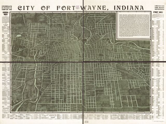 Griswold's birdseye view of the city of Fort Wayne, Indiana indexed for ready reference.