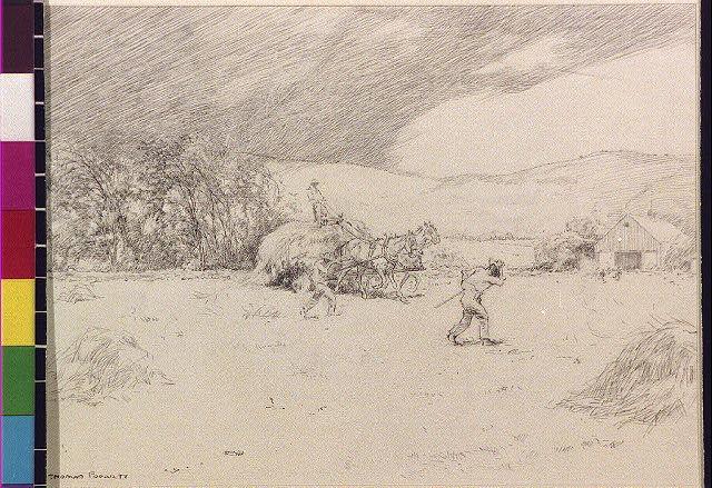 [Hay wagon and farmers returning to barn]