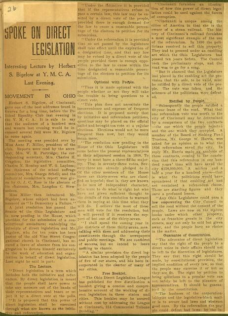 Herbert E. Bigelow Spoke on Direct Legislation