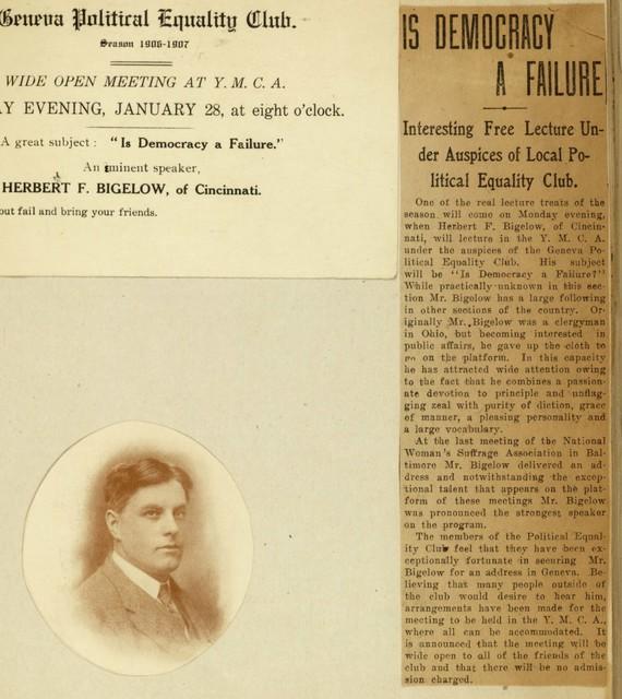 "Herbert F. Bigelow to speak on ""Is Democracy a Failure"""