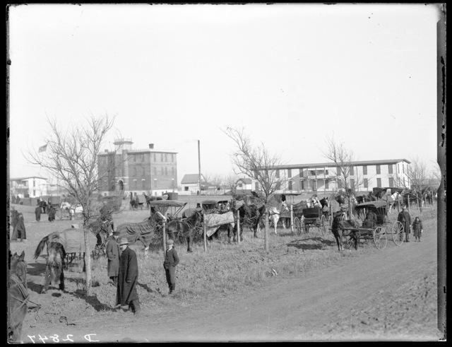 Horses and buggies at the Kearney Military Academy, Kearney, Nebraska.