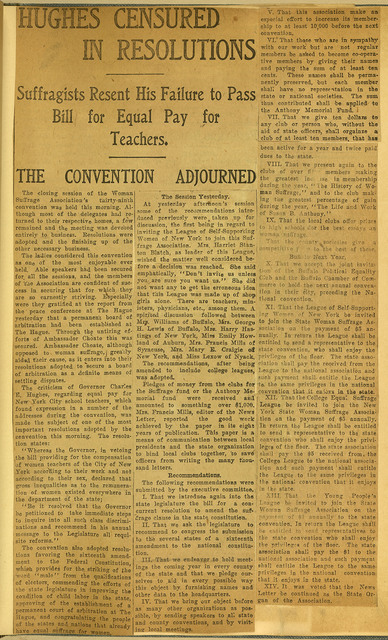 Hughes Censored in Resolutions, 39th annual New York State Woman Suffrage Association convention