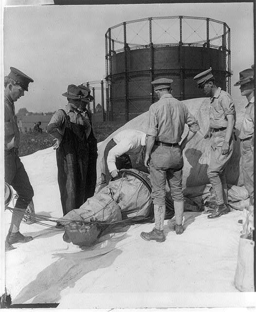 Inspection of balloon during U.S. Signal Corps operations at Ft. Myer, Va., 1907