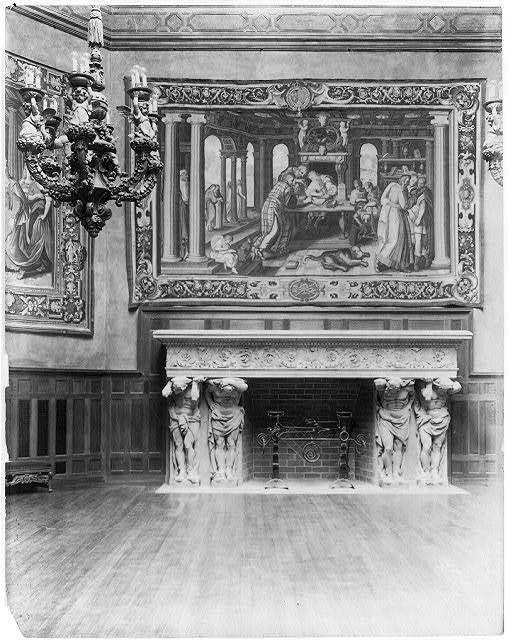 [Interior of John R. McLean House, 1500 I St., N.W., Washington, D.C. - ballroom - detail of fireplace and tapestry]