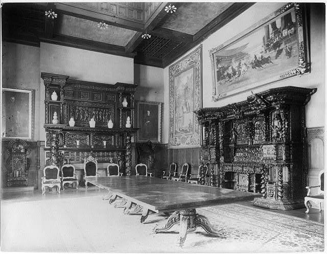 [Interior of John R. McLean House, 1500 I St., N.W., Washington, D.C. - view of dining room showing mantel & cupboard]