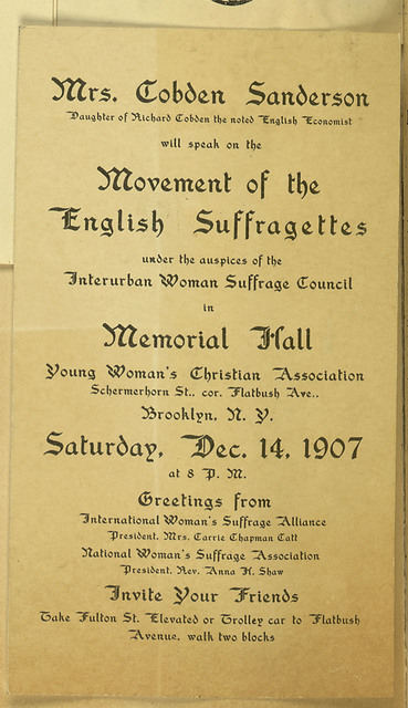 Interurban Woman Suffrage Council. Meeting notice Anne Cobden Sanderson speaking on Movement of English Suffragettes, Brooklyn, NY