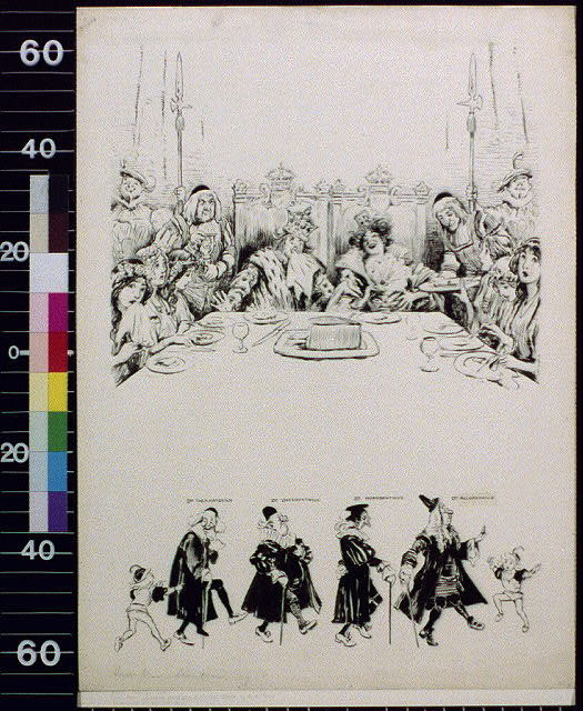 [King and queen with court at table and six walking men]