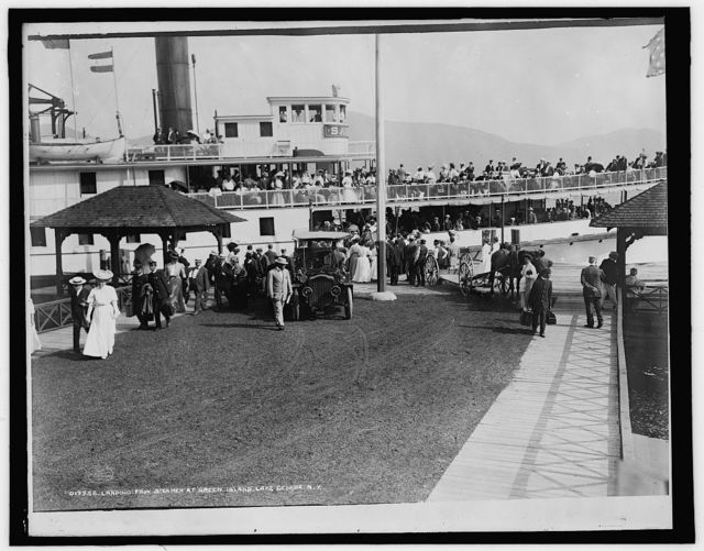 Landing from steamer at Green Island, Lake George, N.Y.