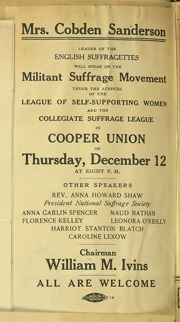 League of self-supporting women meeting notice, Anne Cobden Sanderson speaking on Militant Suffrage Movement at Cooper Union