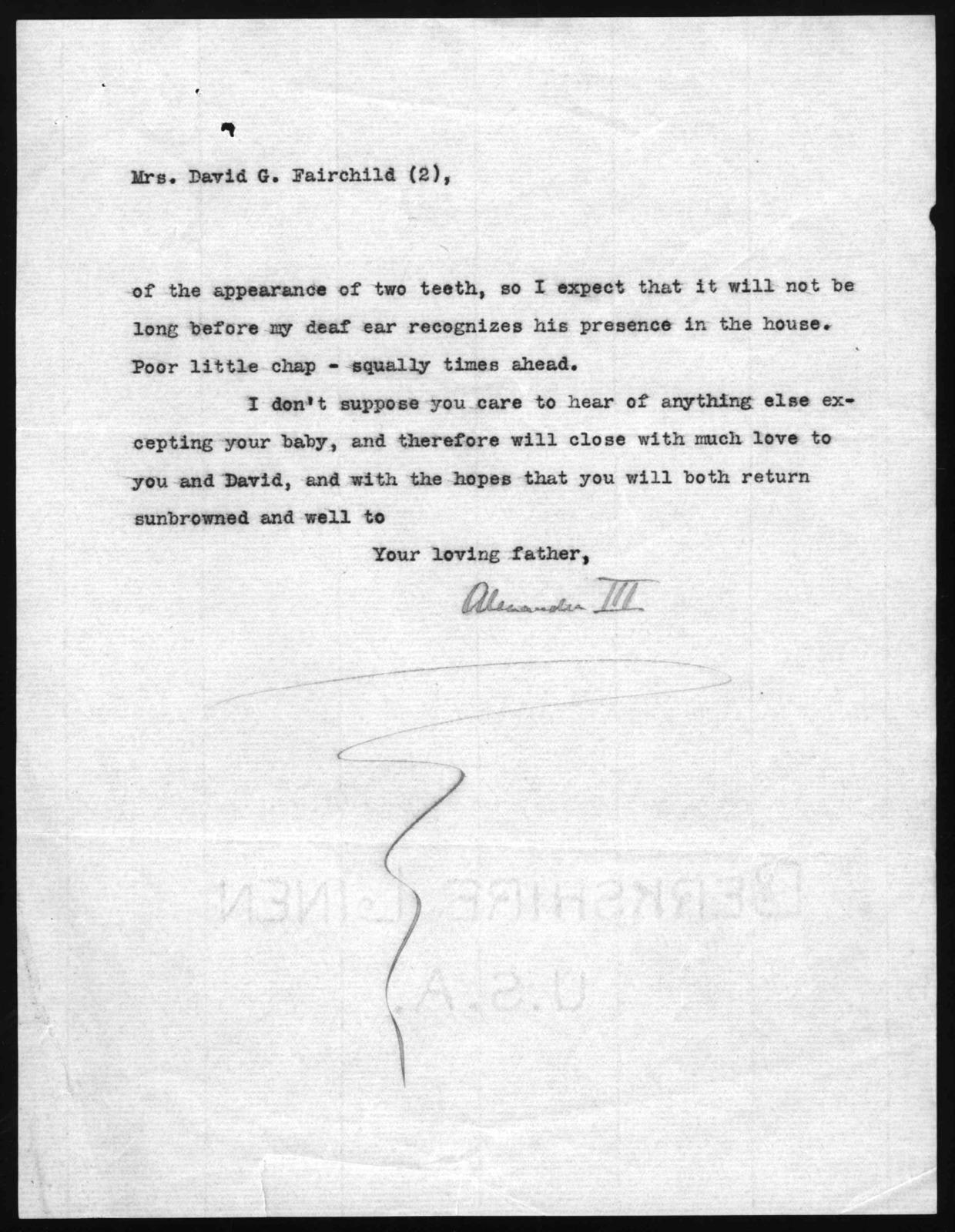 Letter from Alexander Graham Bell to Marian Bell Fairchild, March 1, 1907