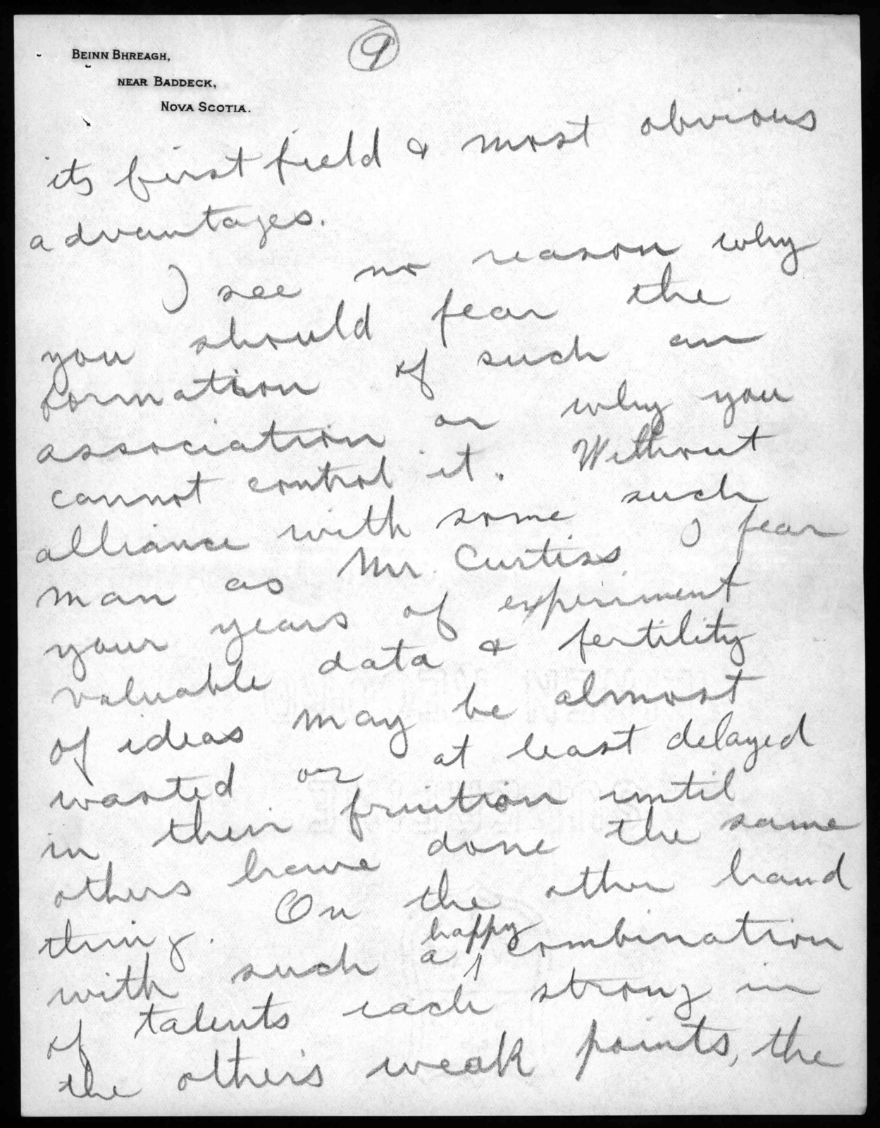 Letter from Frederick W. Baldwin to Alexander Graham Bell, July 28, 1907