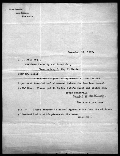 Letter from Mabel B. McCurdy to Charles J. Bell, December 11, 1907