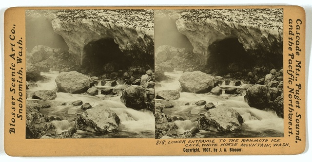 Lower entrance to the mammoth ice cave, White Horse Mountain, Wash.