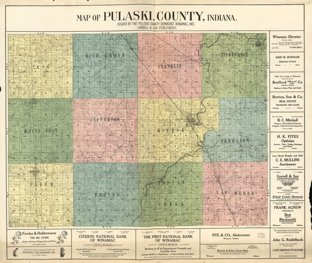 Map of Pulaski County, Indiana /
