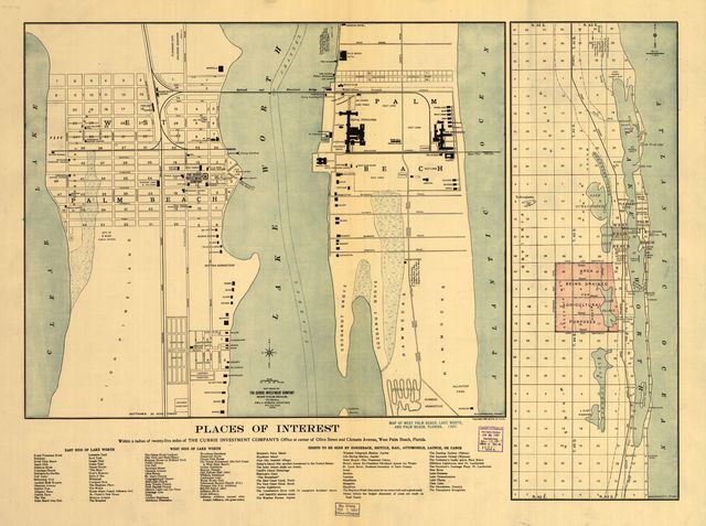 Map of West Palm Beach, Lake Worth, and Palm Beach, Florida.