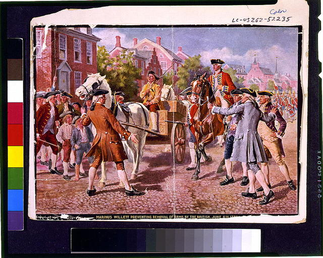 Marinus Willett preventing removal of arms by the British, June 6th, 1775 / John Ward Dunsmore, 1907.