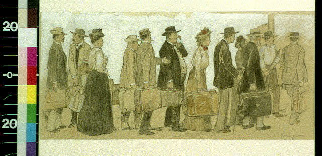[Men and women with luggage waiting in line]
