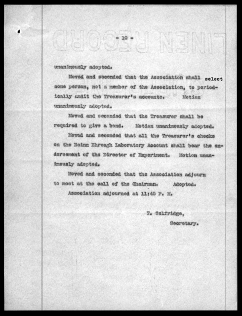 Minutes by Thomas E. Selfridge, October 1, 1907