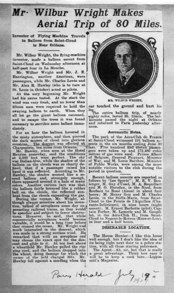 Mr. Wilbur Wright Makes Aerial Trip of 80 Miles [Paris Herald, 19 July 1907]